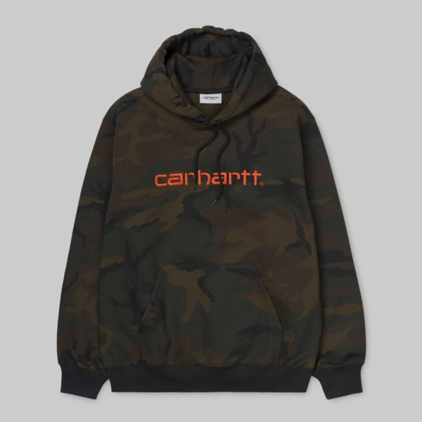 Hooded Carhartt Sweatshirt - Camo Evergreen/Brick Orange